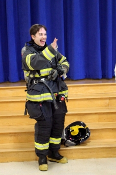 Many students were surprised to see that one of the firefighters was Plank North music teacher Sarah Rosenberry