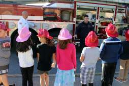 After the demonstration, children got to get up close and personal with a fire truck
