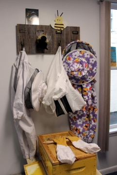 Actual beekeeper wear for the kids to try on.