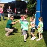 Principal Craig Bodensteiner greeted each finisher with a fist bump