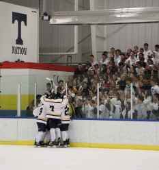The Titans celebrate one of their 6 goals with the T nation at the Showcase event.