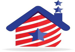 American patriotic house with striped flag logo icon vector